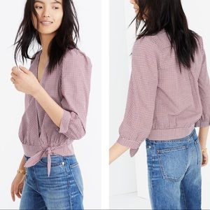 NWT | Madewell | Wrap Top in Gingham Check